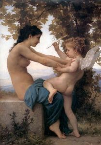 William-Adolphe Bouguereau Jovem se defendendo do Cupido, 1880